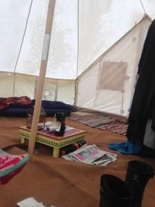 Inside a bell tent