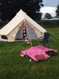The Glamping bell tents can accommodate four glamorous campers