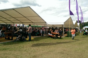 Big crowd at lunch time at Pentref Bwyd